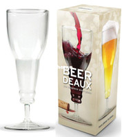 Wholesale 2014 BEER DEAUX upside down beer bottle style glass wine cup beer cup cm