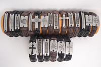 Wholesale Retro mixed styles Handmade Genuine Leather Bracelets with Braided Hemp Rope Brand New