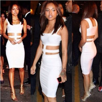 Night Out & Club Bodycon Dresses Summer 2014 New Summer Dress White Cut Out Sleeveless Bandage Dress Novelty Bodycon Celebrity Evening Party Dresses S M L