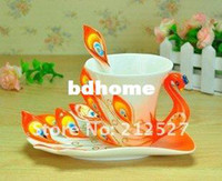 Wholesale Chinese Ceramic Enamel Porcelain Peacock Coffee Mug Lovers Cup amp Saucer Spoon Christmas Wedding Ideas Gift Orange