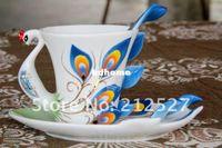 Wholesale Chinese Ceramic Enamel Porcelain Peacock Coffee Mug Lovers Cup Saucer Spoon Christmas Wedding Ideas Gift Blue