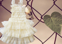 Wholesale Vintage Flower Girls Dress Ivory Chiffon Tiers Lace Dress with Straps and Bow for Baby Girls
