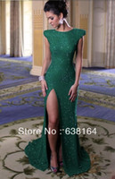 Reference Images Sequined Sleeveless Elegant Jewel Cap Sleeves Dark Green Sequined High Slit Floor Length Straight Long Train Evening Dresses Prom Gown 2013