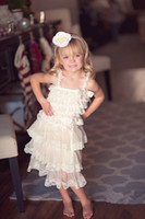 Wholesale Vintage Ivory Rustic Country Flower Girl Lace Tier Dress bridesmaid Ruffle Lace Girls dress with straps