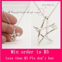 Wholesale Min Order Mix Jewelry order Unique Design Silver Hollow Deformation Pentagram Crystal Pendant Necklace Chain N0222