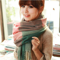 Wholesale 2014 new Autumn winter Thicken cashmere Infinite tassel scarf Print colorful plaid foulard women scarf shawl Keep warm scarf
