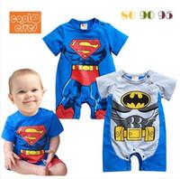 Boy Summer 100% Cotton Cute Superman Baby Rompers , Batman boy romper , Infant Toddler Fake 2pcs Jumper Romper Wholesale 3pcs lot