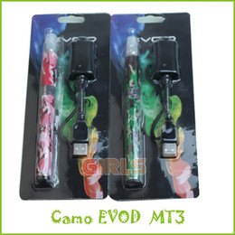 Wholesale Camo EVOD MT3 Blister Kit e Cigarette Kits Blister Pack MT3 Atomizer ML E liquid EVOD Battery mah Vapor Pen for eGo CE4 Protank T3S