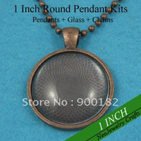 Beaded Necklaces Women's Fashion 200 Sets Antique Copper Necklace Sets: 25mm Circle Pendant Trays + 25mm Glass Cabochons + 24 Inches Ball Chain necklaces