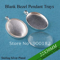 Wholesale 22x30mm Shiny Silver Oval Pendant Tray Bezel Settings Matching Clear Glass Cabochon Pieces Each