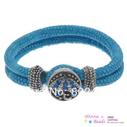 Wholesale PU Leather Snap Bracelets Blue Snaps Snap Buttons Umbrella Pattern Blue Rhinestone cm Piece Z00161
