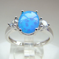Cheap With Side Stones blue fire  opal ring Best South American Women's wedding opal ring
