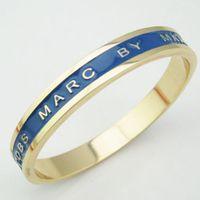Wholesale Mix Colors Charms Expoy Enamel Letter Logo Bangles Bracelets Pulseiras Womens Jewelry Fashion Accessories