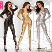 Wholesale New sexy lingerie Black silver gold Wetlook clubwear Catsuit jumpsuit D Intricately crafted Overall Punk