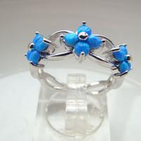 Cheap With Side Stones Blue fire opal ring Best Bohemian Women's opal ring