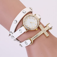 Wholesale 2014 hot New women vintage drill bracelet women watches with cross fashion leather strap quartz watches women dress watches cheap watches