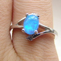 Cheap With Side Stones blue fire opal jewelry Best Mexican Women's wedding opal ring