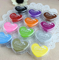Wholesale Top Fasion New colors Mini Heart Shape Craft Ink Pad colorful Cartoon Pad self Inking Stamps for Diy Scrapbooking