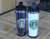 Wholesale 2014 starbucks double wall coffee mug for oz insulated tumbler travel cups white amp black