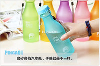 Wholesale 1 piece candy colors matte leak proof portable unbreakable plastic soda bottles sports sealed water bottle