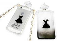 For Apple iPhone french perfume - French perfume bottles DHL shipping black dress protective shell TPU Case for iphone s case women only transparent shell with sling