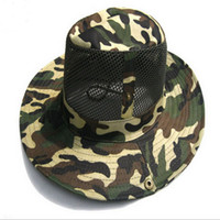Men military hats - New Fashion Camouflage Military Hat With Wide Brim Boonie Sun Fishing Bucket Camping Hunting Hat