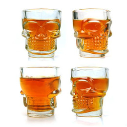Wholesale 4PCS Skull Head Vodka Shot Wine Glass Drinking Cup Crystal Barware Ounces ml IA358