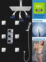 air pressurized water - 16 Inch Air Drop Water Saving Rainfall Shower Head Pressurize Hand Shower Thermostat Bathroom Rainfall Shower Set ZA