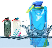 Wholesale Newest ml Reusable Foldable Sport amp Outdoor Water Drinking Plastic Bag Portable Folding Water Bottle