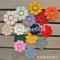 100% Cotton bamboo pics - 2014 new fashion flowers design pic cm round ikea style cotton lace felt crochet doilies as innovative item for table