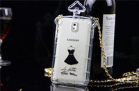 Wholesale French perfume bottles black dress protective shell TPU cell phone case Samsung GALAXY S5 case note3 women only transparent shell with sling