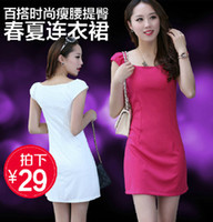 Casual Dresses Round Mini New 2014 Spring 2014 Women Summer Dress Casual Dress Plus Size Slim Knitting Dress XL XXL SI024-1