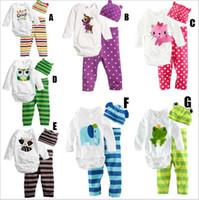 Wholesale Baby three Piece Romper Newborn Baby Girls Boy s cartoon Climb Clothes Kids cap long sleeve t shirt pant children s Climb Clothes A0445