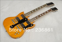 other other Mahogany TOP Musical Instruments 12 6 String Led Zeppeli Page 1275 Double Neck yellow electric guitar