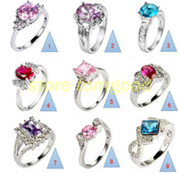 Wholesale 20PCS Mixed Sterling Silver Eternal Witness Of Love Jewelry Engagement Wedding Rings Crystal Rings