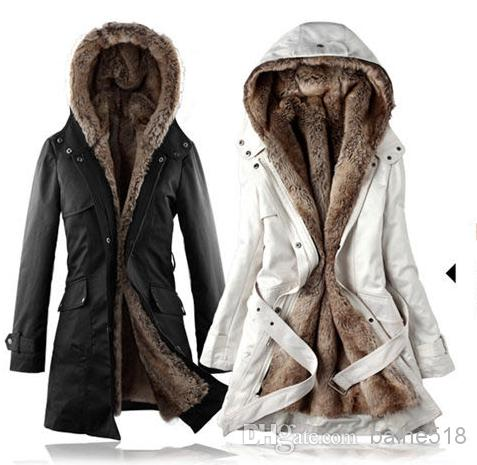 Hot Sell! Faux Fur Lining Women's Winter Warm Long Fur Coat Jacket ...