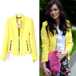 jumpsuits Free Shipping 2014 Spring New Style Fashion Women Blazer Yellow Collarless Long Sleeve Zipper Suit
