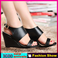 Women Spool Heel PU Genuine Leather Sandals New 2014 Sexy Rome Style Casual Sandals Cow Leather High Heel Wedges Red Bottom Summer Shoes JDM284
