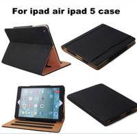 Wholesale iPad6 Air2 Tan Leather Wallet Stand Flip Case Smart Cover for iPad Air Air Mini Mini2 Mini3 Retina With Auto Sleep Wake UP