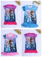 Wholesale Fashion Frozen Princess Elsa Sofia T shirt dress Children Baby Girl Milk Silk short sleeve dress kids long T shirt Dress