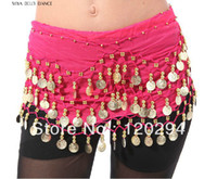 Cheap bra set Top Quality Multi Color Belly Dance Costume Wear Hip Wraps Belly Dance Hip Scarf Golden 128Coins Tribal Belly Dance Belt Chain