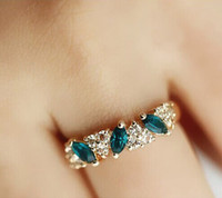 gold filled ring - Exclusive Emerald Women s White Blue Sapphire KT White Gold Filled Ring Band