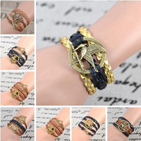 Wholesale Mix Styles Infinite Believe Hunger Games Anchor Love Jesus Owl Multilayer Pattern Leather Bracelet
