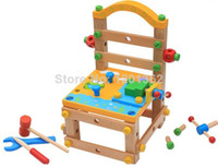 Wholesale Tool Chair DIY Assembly Baby Children Wooden Model Building Kits Pretend PlayToy