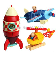 Wholesale Janod Magnetic Stacking Toys Rocket Helicopter Plane Baby Child Wooden Educational Toy