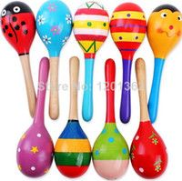 party maracas - Hot Wooden Maracas Wood Rattles Party Favor Child Baby Shaker Toy Kid Musical Instrument CM
