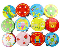 Wholesale 10CM Wooden Baby Child Kid Hand bell Clap Drum Tambourine Rattles Toy Colors May Vary