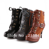 Half Boots Women Winter Female winter super sexy stiletto ankle boots fashion lace Patchwork military motorcycle boots size USA 8 sexy black brown gray