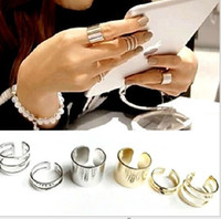 Wholesale Shiny Punk Polish Gold Silver Stack Plain Band Midi Mid Finger Knuckle Ring Set Rock Hot Sale set