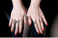 Band Rings Asian & East Indian Women's Shiny Punk Polish Gold Silver Stack Plain Band Midi Mid Finger Knuckle Ring Set Rock Hot Sale 15pcs(5set)